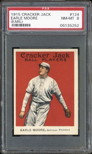 1915 Cracker Jack #124 Earle Moore PSA 8 NM/MT