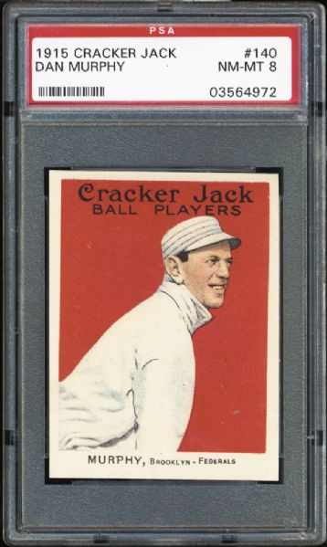 1915 Cracker Jack #140 Dan Murphy PSA 8 NM/MT
