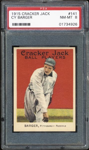 1915 Cracker Jack #141 Cy Barger PSA 8 NM/MT