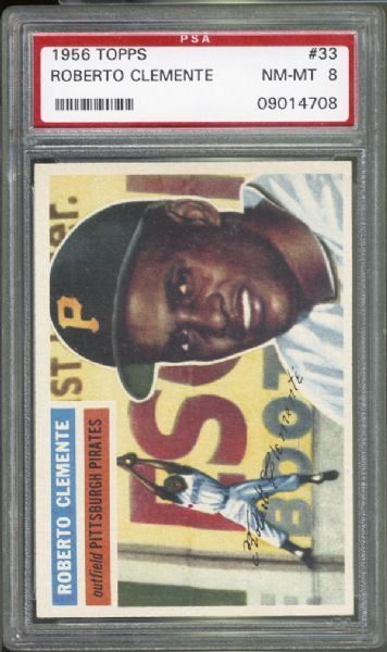 1956 Topps #33 Roberto Clemente PSA 8 NM/MT