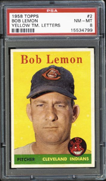 1958 Topps #2 Bob Lemon Yellow Letters PSA 8 NM/MT