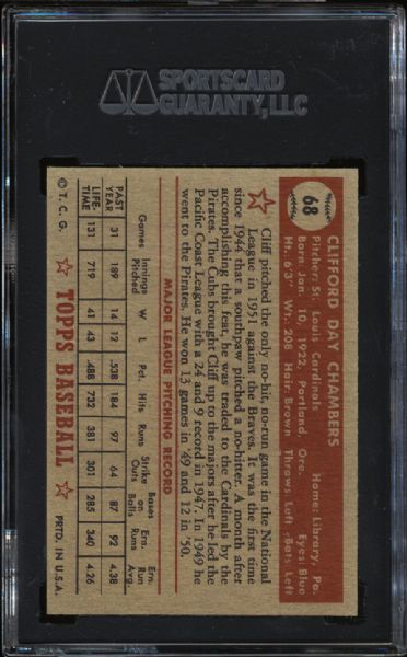 1952 Topps #68 Cliff Chambers SGC 96 MINT 9