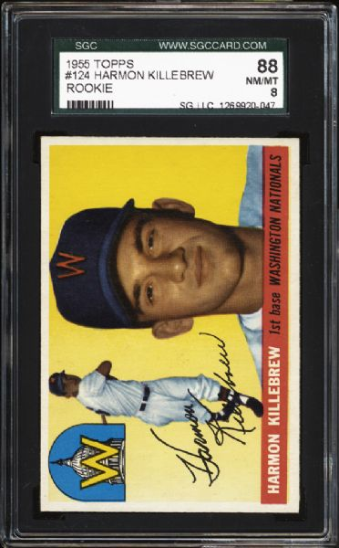 1955 Topps #124 Harmon Killebrew SGC 88 NM/MT 8