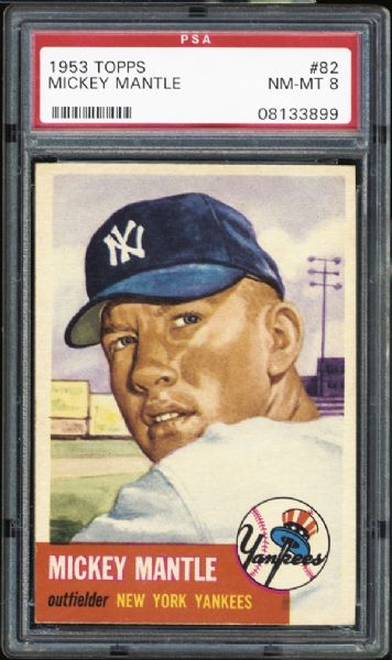 1953 Topps #82 Mickey Mantle PSA 8 NM/MT