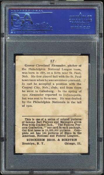 1914 Cracker Jack #37 Grover Alexander PSA 2 GOOD