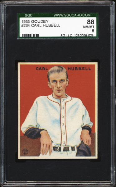 1933 Goudey #234 Carl Hubbell SGC 88 NM/MT 8