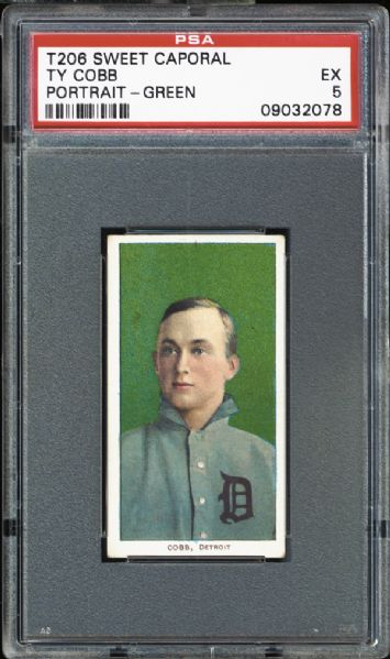 1909-11 T206 Ty Cobb Portrait Green Back PSA 5 EX