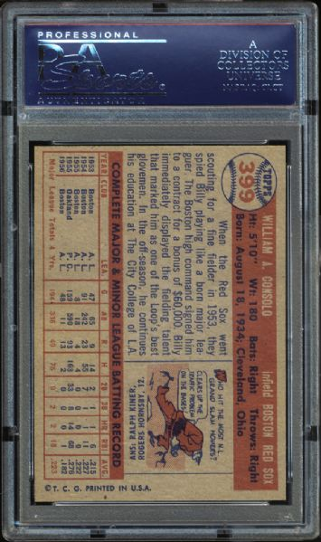 1957 Topps #399 Billy Consolo PSA 9 MINT