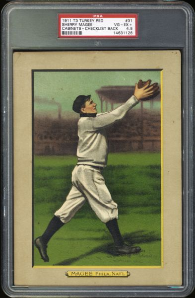 1911 T3 Turkey Red Sherry Magee PSA 4.5 VG/EX+