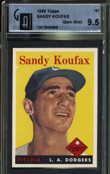 1958 Topps #187 Sandy Koufax 1st Graded GAI 9.5 GEM MINT