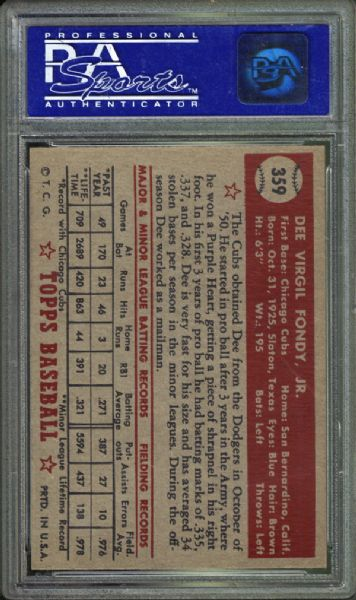 1952 Topps #359 Dee Fondy PSA 8 NM/MT