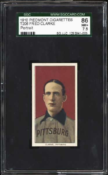 1909-11 T206 Fred Clarke Portrait SGC 86 NM+ 7.5