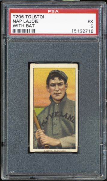 1909-11 T206 Tolstoi Nap Lajoie With Bat PSA 5 EX