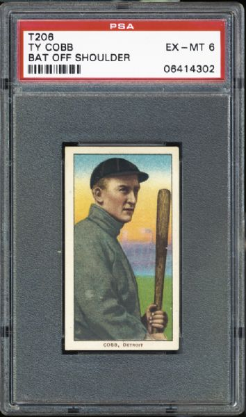 1909-11 T206 Ty Cobb Bat Off Shoulder PSA 6 EX/MT