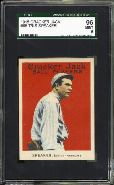 1915 Cracker Jack #65 Tris Speaker SGC 96 MINT 9