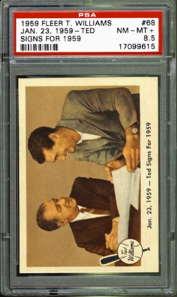 "1959 Fleer #68 ""Ted Signs for 1959"" PSA 8.5 NM/MT+"
