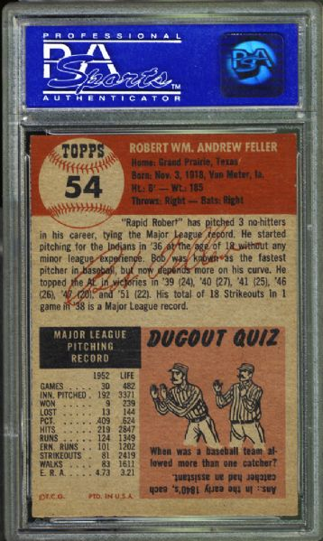 1953 Topps #54 Bob Feller PSA 8 NM/MT
