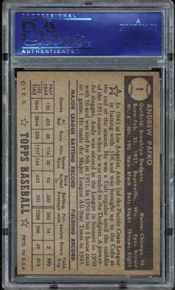 1952 Topps #1 Andy Pafko Black Back PSA 6 EX/MT