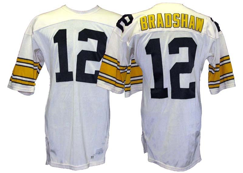 8adcec359 ... 1977 Terry Bradshaw Pittsburgh Steelers Game-Used Road Jersey .