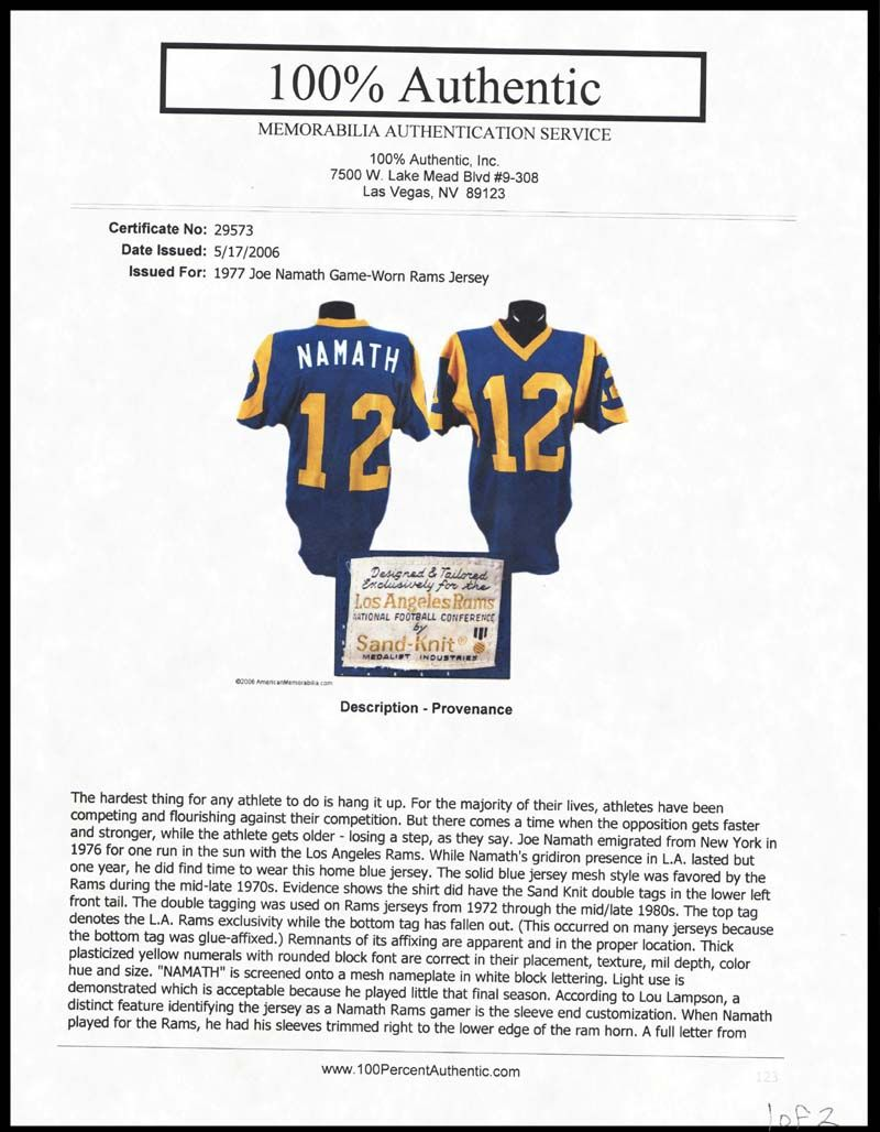 Top Lot Detail 1977 Joe Namath Los Angeles Rams Game Used Home Jersey  for cheap