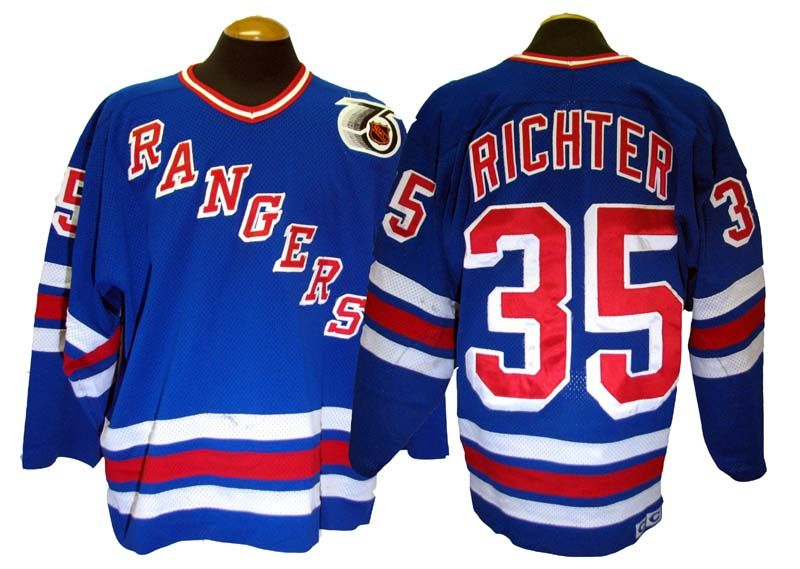 e3588f86b ... ccm authentic royal blue throwback 75th jersey 1991 92 mike richter new  york rangers game used