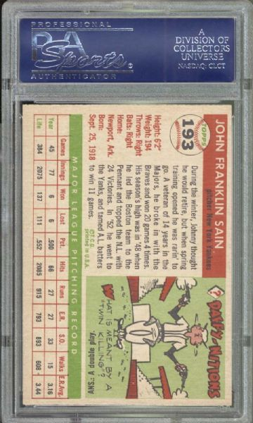 1955 Topps #193 Johnny Sain PSA 9 MINT