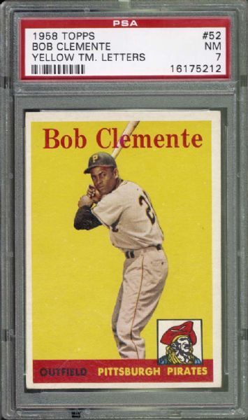 1958 Topps #52 Bob Clemente Yellow Letters PSA 7 NM