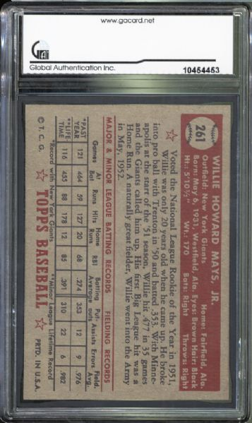 1952 Topps #261 Willie Mays GAI 8 NM/MT