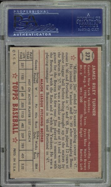 1952 Topps #373 Jim Turner PSA 7 NM