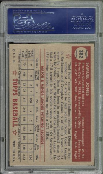1952 Topps #382 Sam Jones PSA 7 NM