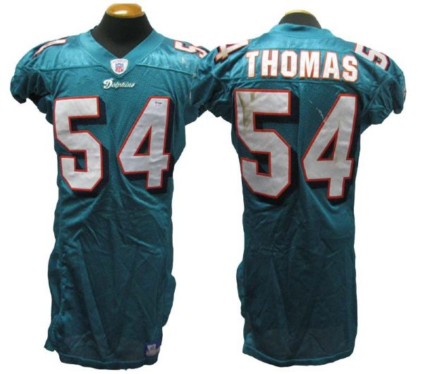 wholesale dealer 87461 e3773 Lot Detail - 2004 Zach Thomas Miami Dolphins Game-Used Home ...