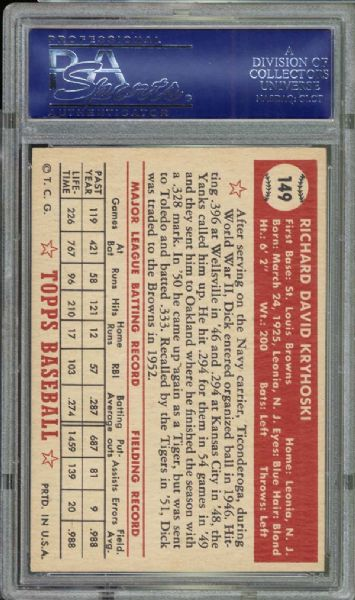 1952 Topps #149 Dick Kryhoski PSA 8 NM/MT