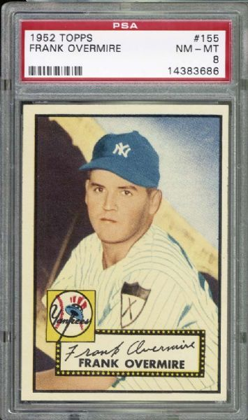 1952 Topps #155 Frank Overmire PSA 8 NM/MT