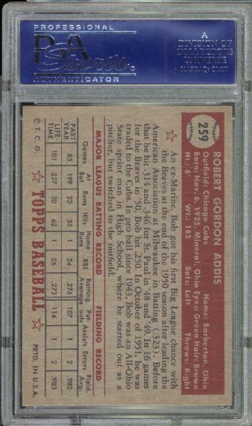 1952 Topps #259 Bob Addis PSA 8 NM/MT