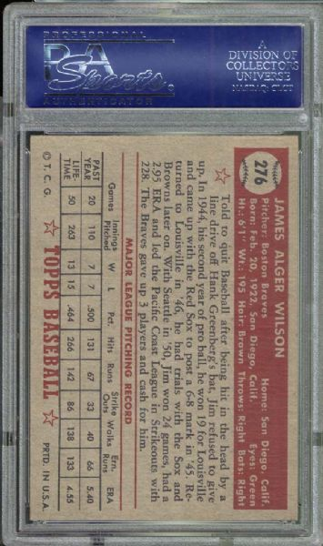 1952 Topps #276 Jim Wilson PSA 8 NM/MT