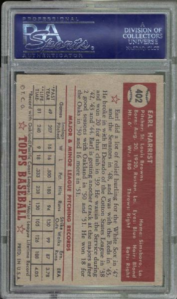 1952 Topps #402 Earl Harrist PSA 8 NM/MT