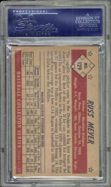 1953 Bowman Color #129 Russ Meyer PSA 8.5 NM/MT+
