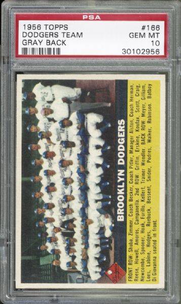 1956 Topps #166 Dodgers Team PSA 10 GEM MINT