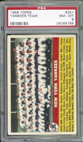 1956 Topps #251 Yankees Team PSA 8 NM/MT