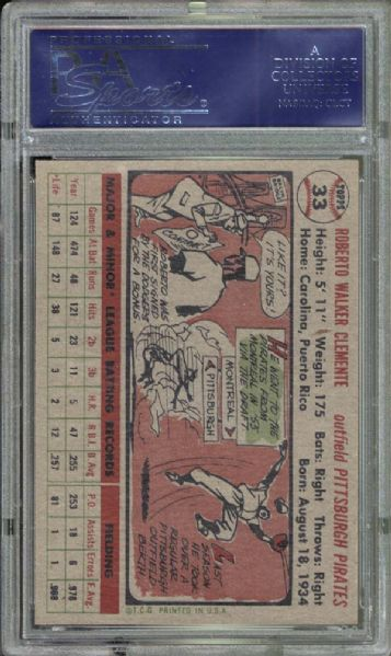 1956 Topps #33 Roberto Clemente PSA 8.5 NM/MT+