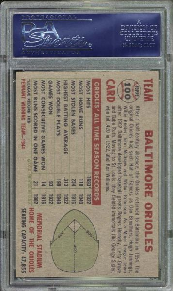 1956 Topps #100 Orioles Team PSA 8 NM/MT