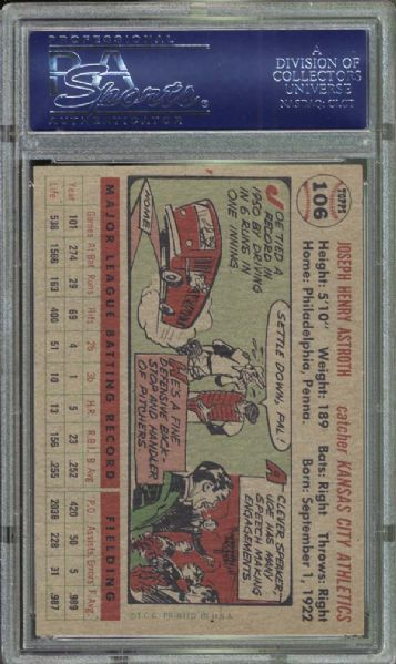 1956 Topps #106 Joe Astroth PSA 9 MINT