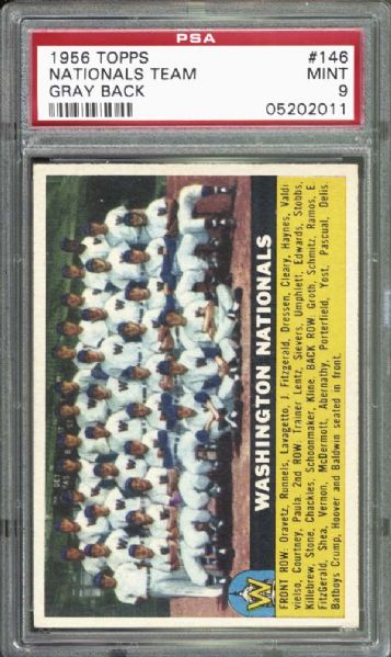 1956 Topps #146 Nationals Team PSA 9 MINT