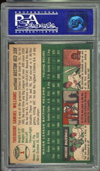 1954 Topps #1 Ted Williams PSA 7 NM