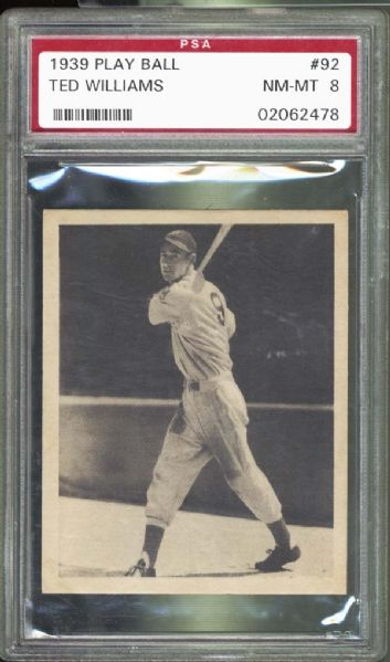 1939 Play Ball #92 Ted Williams PSA 8 NM/MT