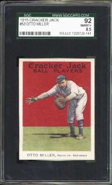 1915 Cracker Jack #53 Otto Miller SGC 92 NM/MT+ 8.5