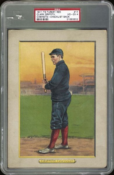 1911 T3 Turkey Red #17 Clark Griffith PSA 4 VG/EX