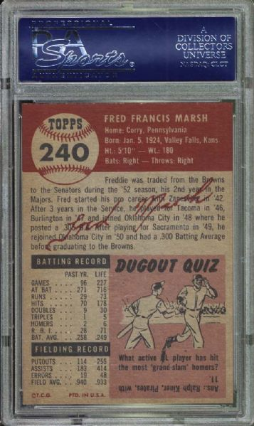 1953 Topps #240 Freddie Marsh PSA 8 NM/MT