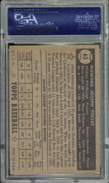 1952 Topps #63 Howie Pollet PSA 8 NM/MT