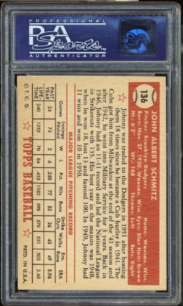 1952 Topps #136 Johnny Schmitz PSA 8 NM/MT